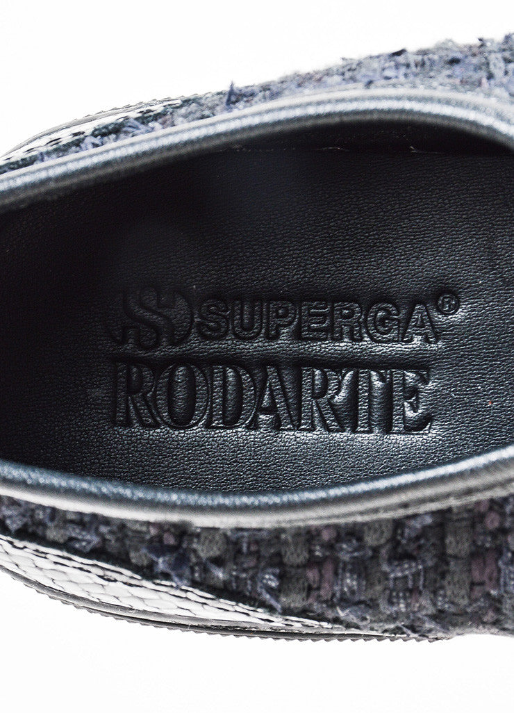 Rodarte Black Snakeskin Embossed Tennis Shoes Brand