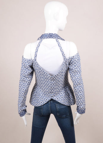 Rodarte New With Tags Blue and White Jacquard Cut Out Long Sleeve Jacket Backview