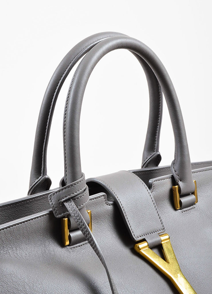 "Saint Laurent Grey Leather Gold Toned Hardware ""Medium Cabas Chyc"" Bag Detail 2"