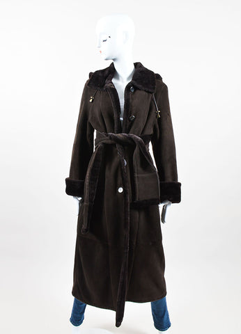 Brown Stefania Sarre Suede Shearling Hooded Long Coat Front