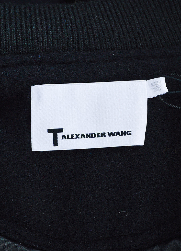 Black ‰ۢÌöÌÛT by Alexander Wang Wool and Leather Long Varsity Bomber Jacket Brand