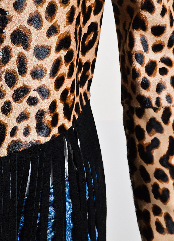 "The Perfext Tan and Black Pony Hair Leopard Fringe ""Christy"" Jacket Detail"