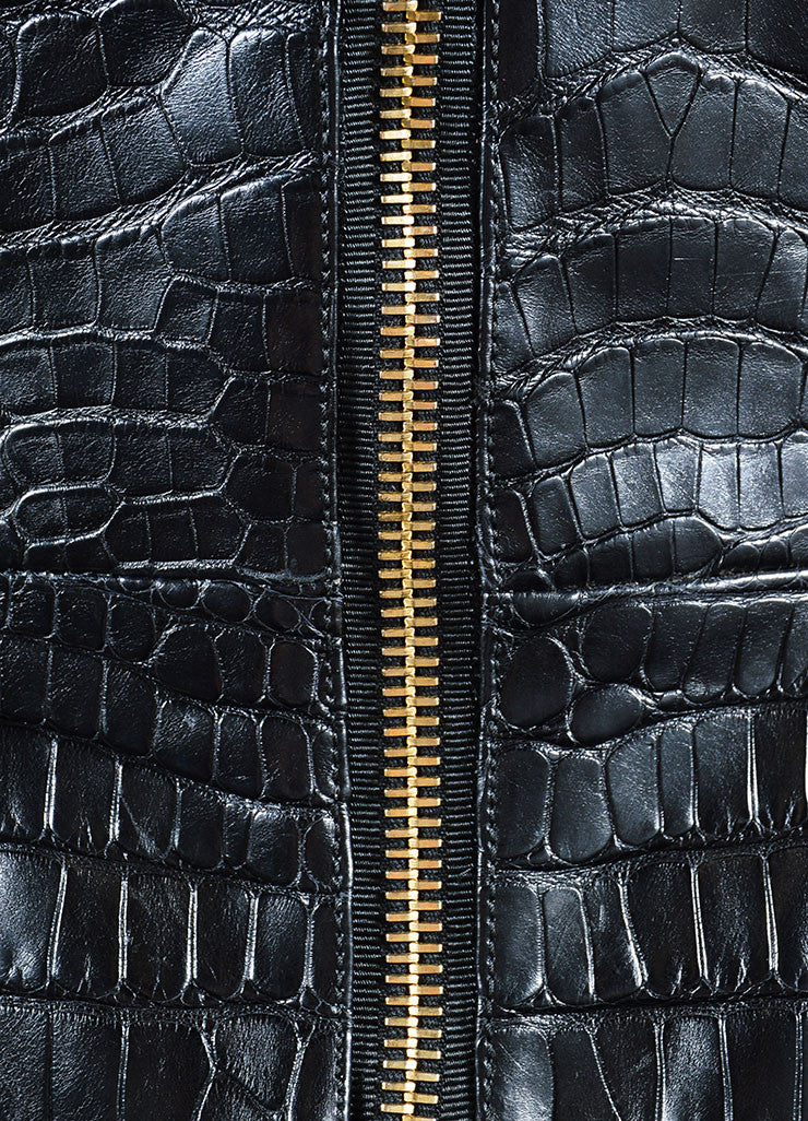 "Tom Ford Black Crocodile Leather Peplum ""Scuba"" Moto Jacket Detail"