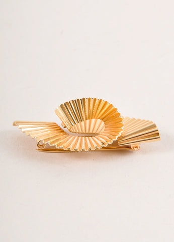Cartier 14K Gold Thick Single Wave Pin Brooch Sideview