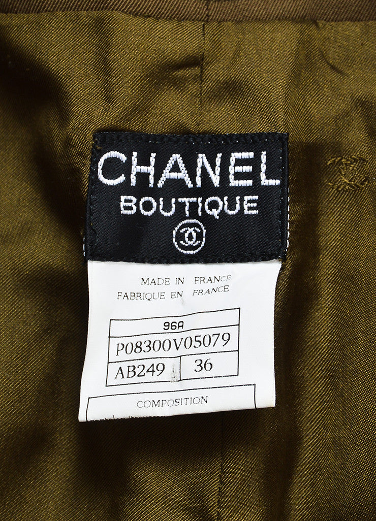 Chanel Green Wool High Rise Straight Leg Trousers Brand