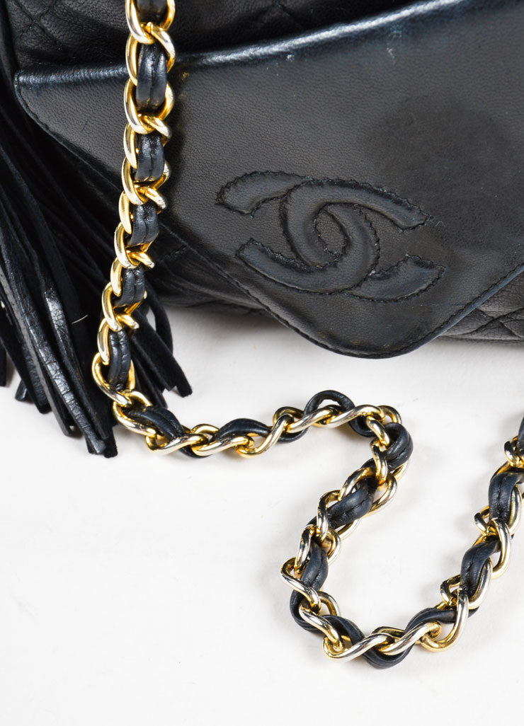 Vintage Chanel Black Leather Quilted Cross Body Bag Detail 2