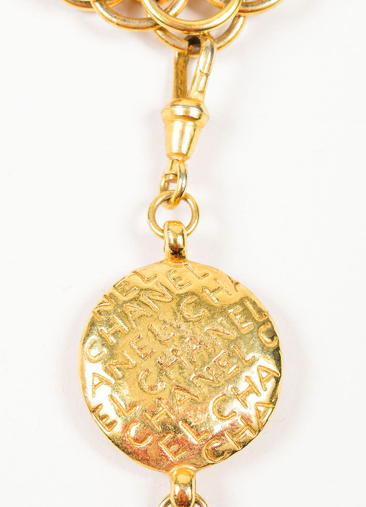 Gold Toned Chanel 'Coco' Figure Removable Pendant Charm Chain Necklace Brand
