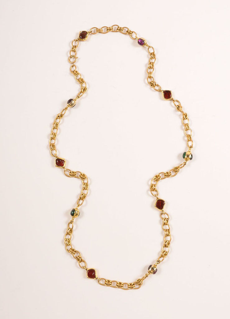 Chanel Gold Toned and Multicolor Cabochon Bead Linked Chain Necklace Frontview