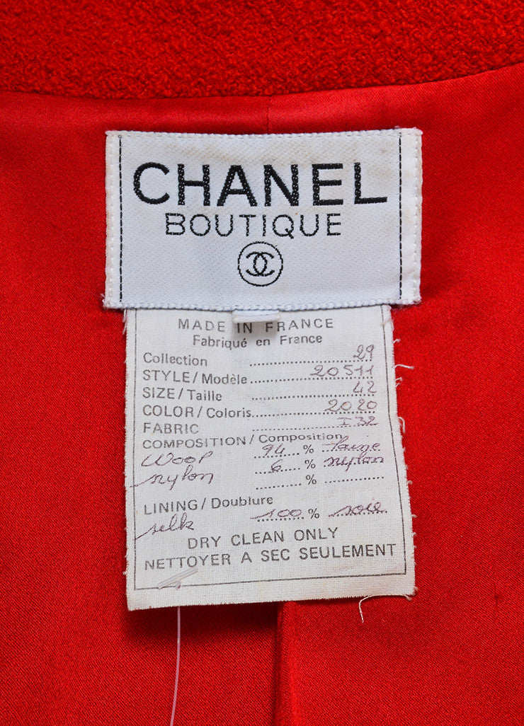Red Chanel Wool Boucle Tailored Jacket Brand
