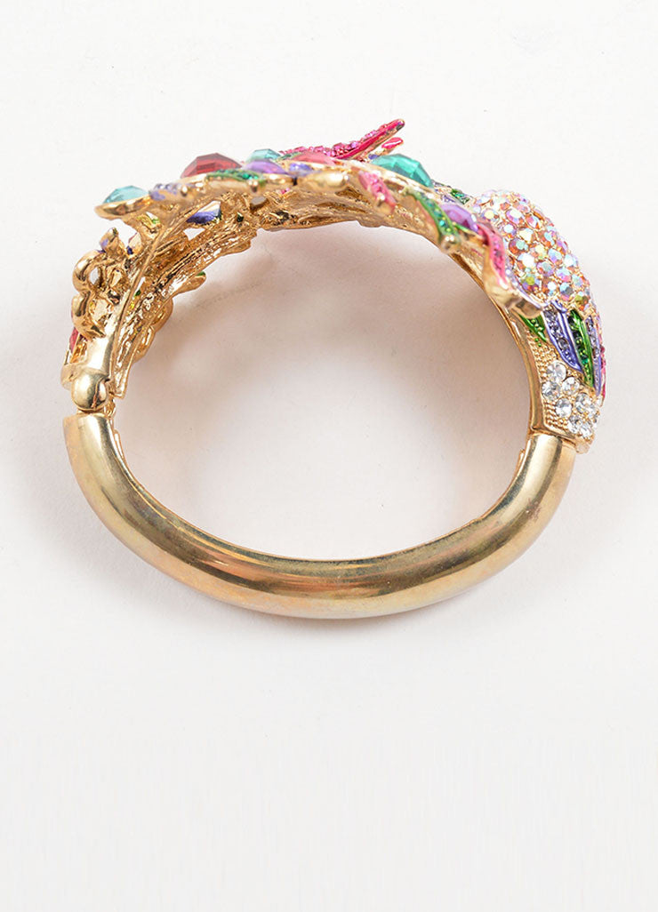 Vintage Gold Toned and  Multicolor Rhinestone Embellished Peacock Bangle Bracelet Topview