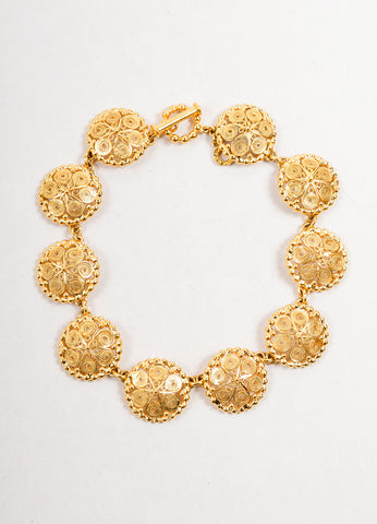 Goossens Gold Toned Swirl Texture Circle Link Collar Necklace Frontview