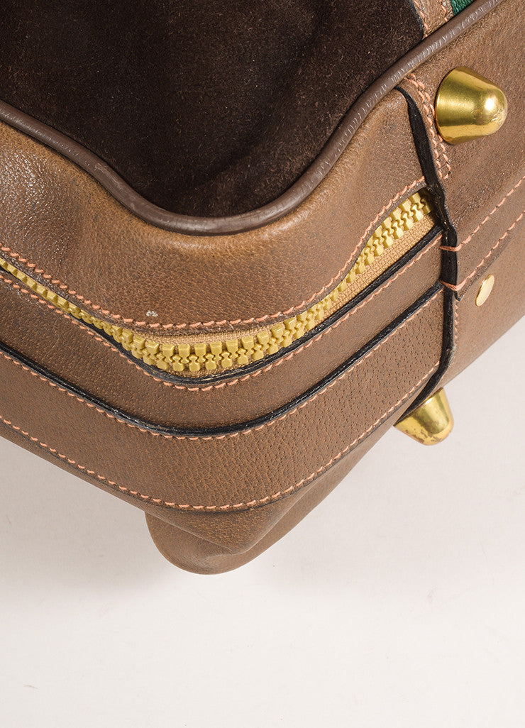 Gucci Brown Suede Leather Classic Striped Zip Around Luggage Bag Detail