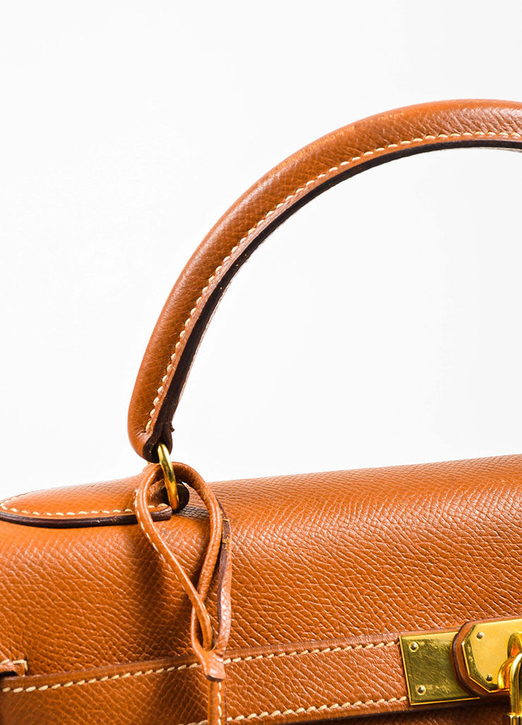 "Hermes GHW Cognac Brown Veau Grain Lisse Leather 32 cm ""Kelly"" Handbag Detail 2"