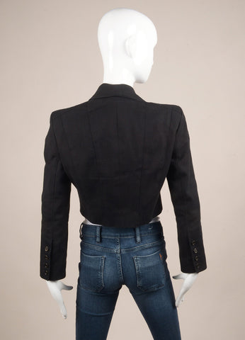 Karl Lagerfeld Black Paneled Canvas Double Breasted Cropped Jacket Backview