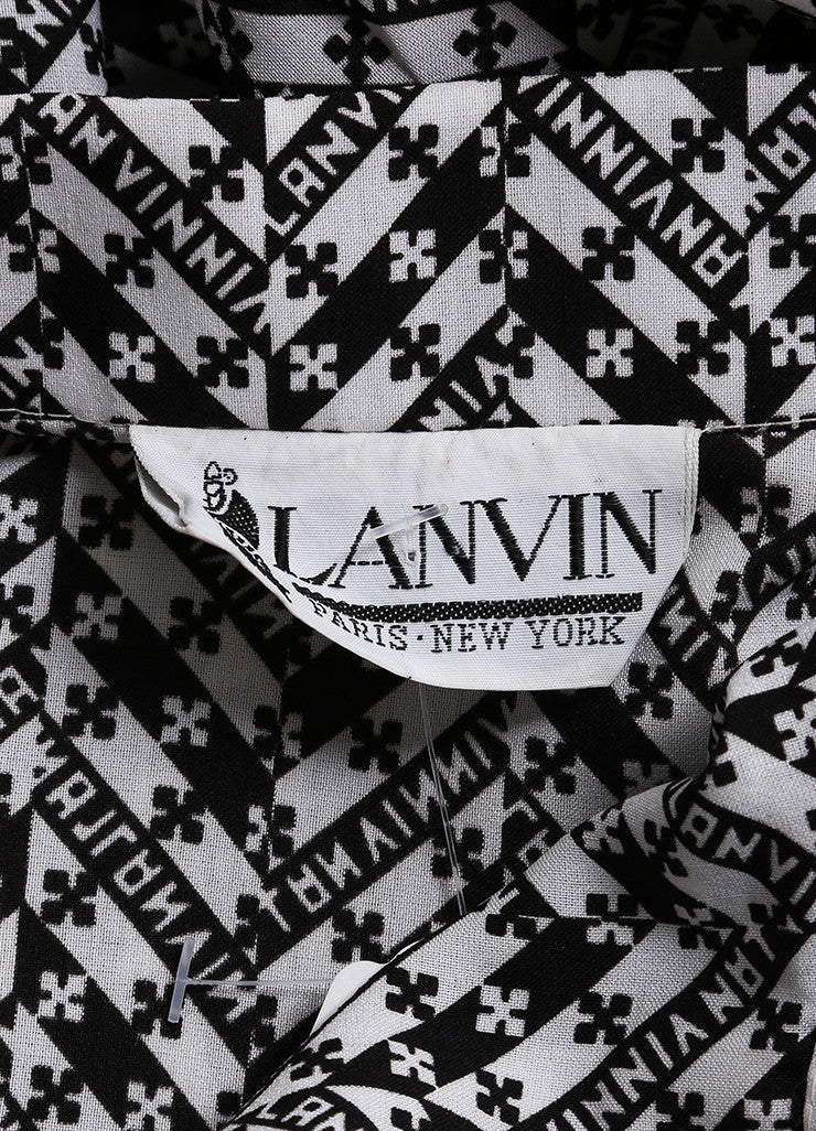 Lanvin Black and White Abstract Print Belted Shirt Dress Brand