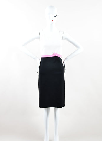 White, Pink, and Black Valentino Wool Square Neck Sheath Dress Frontview