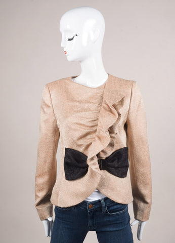 Valentino Nude and Black Wool and Silk Ruffle Bow Zip Jacket Frontview
