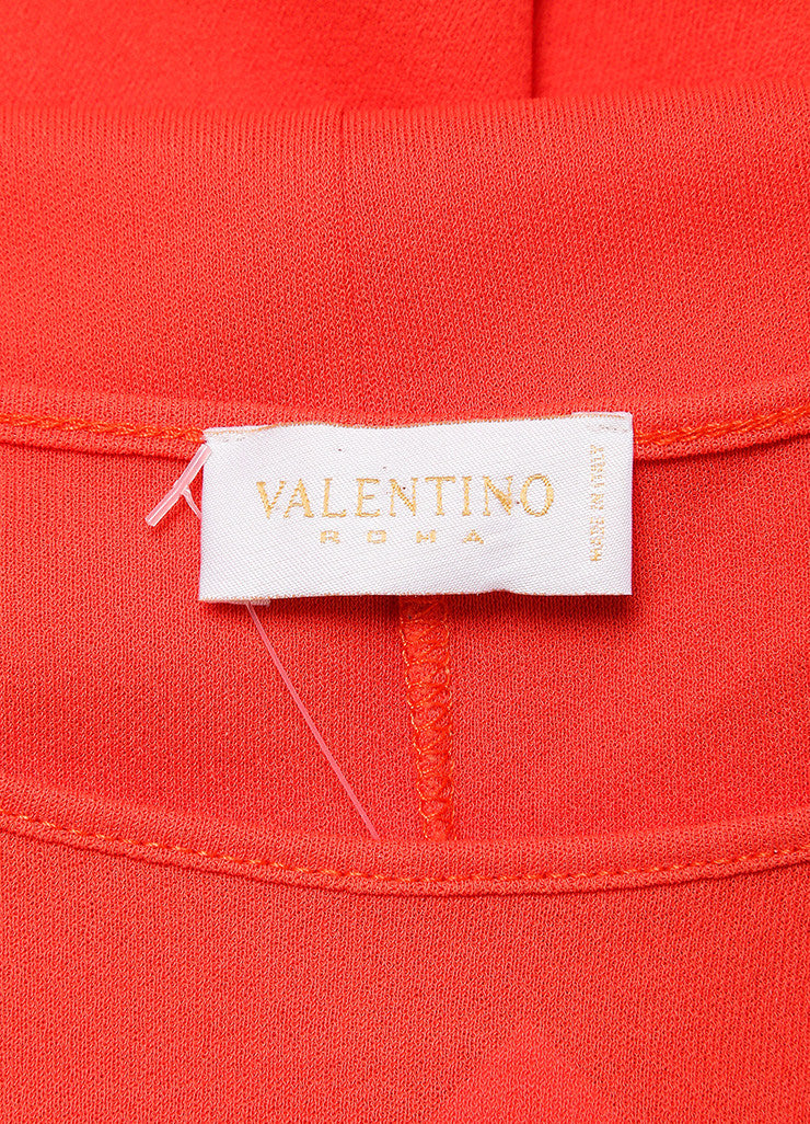 Valentino Roma Coral Orange Textured Jersey Knit Sleeveless Dress Brand