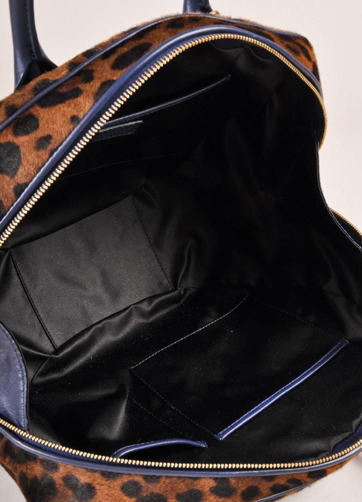Versace Black and Brown Leopard Print Pony Hair Bowler Bag Interior