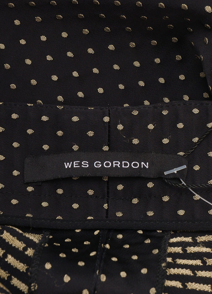 Wes Gordon New Black and Tan Dotted Skinny Trousers Brand