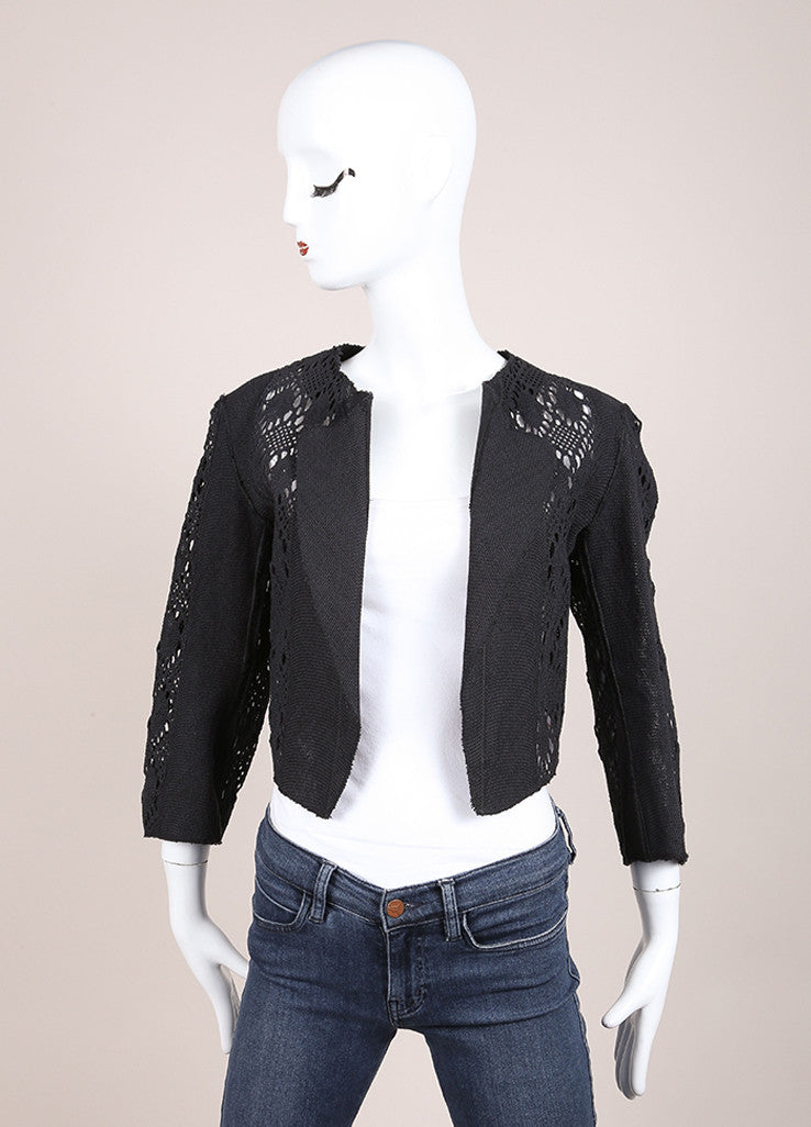 Yves Saint Laurent Black Pique Woven Embroidered Cut Out Crop Jacket Frontview