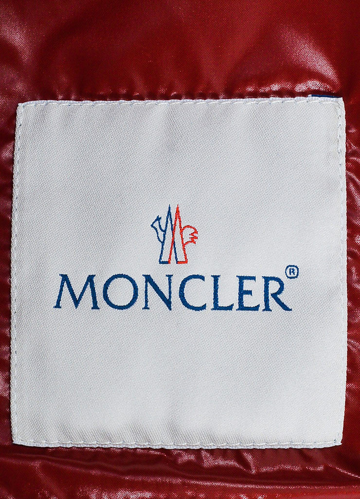"Red Moncler Quilted Down Puffer Fur Trim ""Armoise"" Jacket Brand"