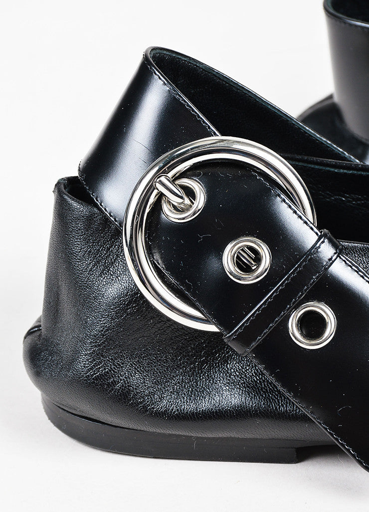 "Celine Black Leather Silver Buckle V Top Pointed Toe ""Babouche"" Flats Detail 2"