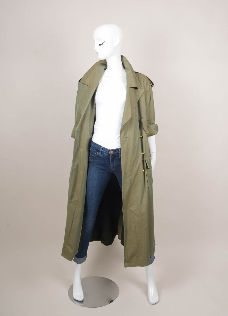 "Green and Gold ""CC"" Button Double Breasted Military Trench Coat"
