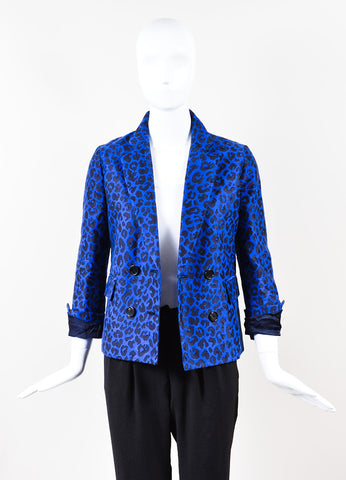 3.1 Phillip Lim Blue Black Knit Leopard Print Long Sleeve Blazer Front2