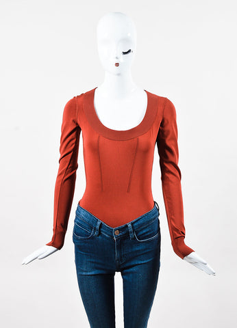 Alaia Brick Red Stretch Knit Long Sleeve Scoopneck Bodysuit Frontview