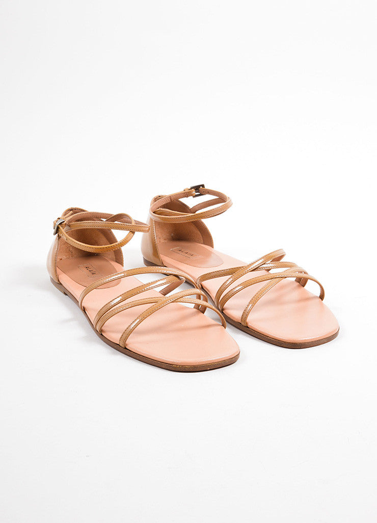 Alaia Tan Patent Leather Square Toe Strappy Flat Sandals Frontview