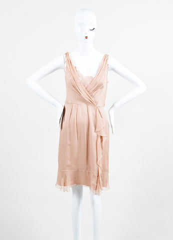 Blush Pink •ÈÀAlberta Ferretti Chiffon Silk Draped Lace Ruffle Trim Sleeveless Dress Frontview