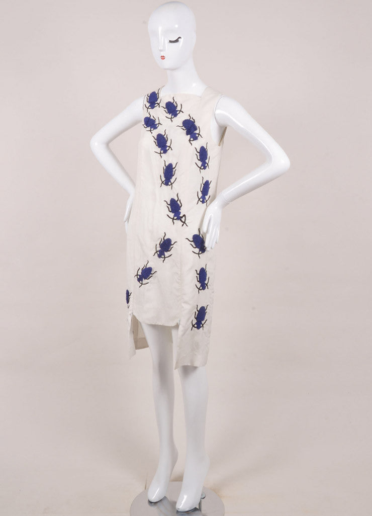 "Azede Jean-Pierre New With Tags Beige and Blue Silk and Linen Beetles ""Swarm"" Dress Sideview"