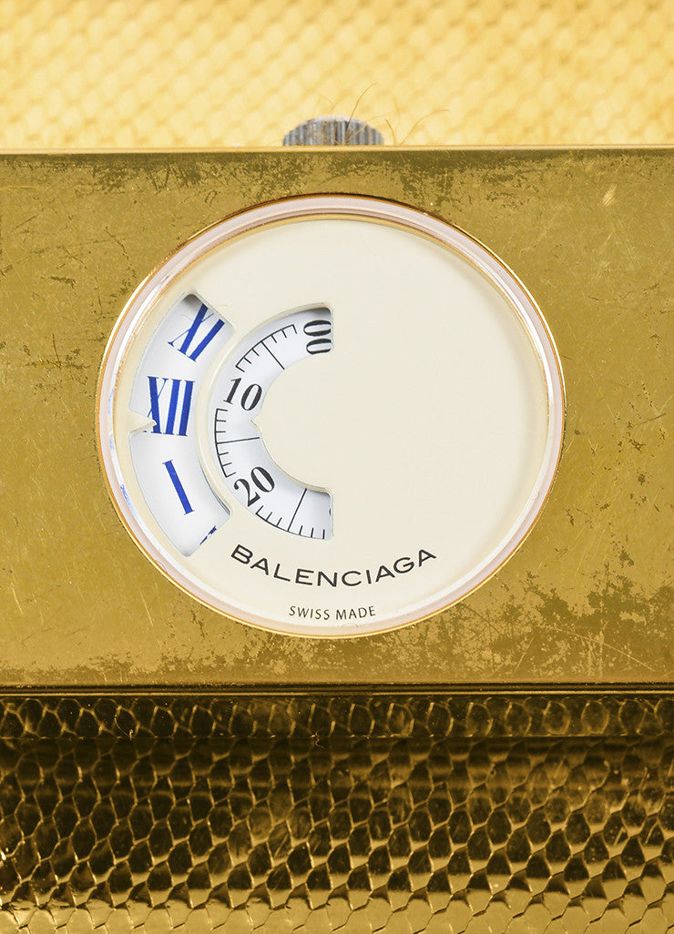 "Balenciaga Gold Toned Wide Mesh Strap Belt Buckle ""Montre Acier"" Quartz Watch Detail"