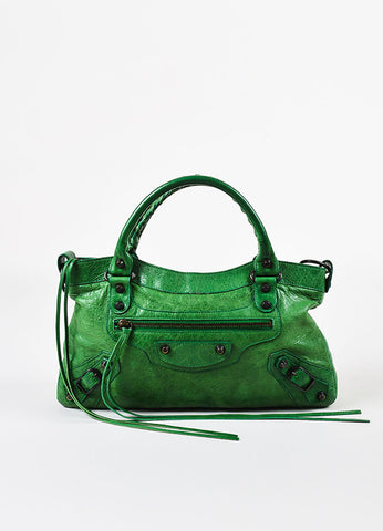 "Balenciaga Green Distressed Lambskin Leather ""Classic First"" Bag Frontview"