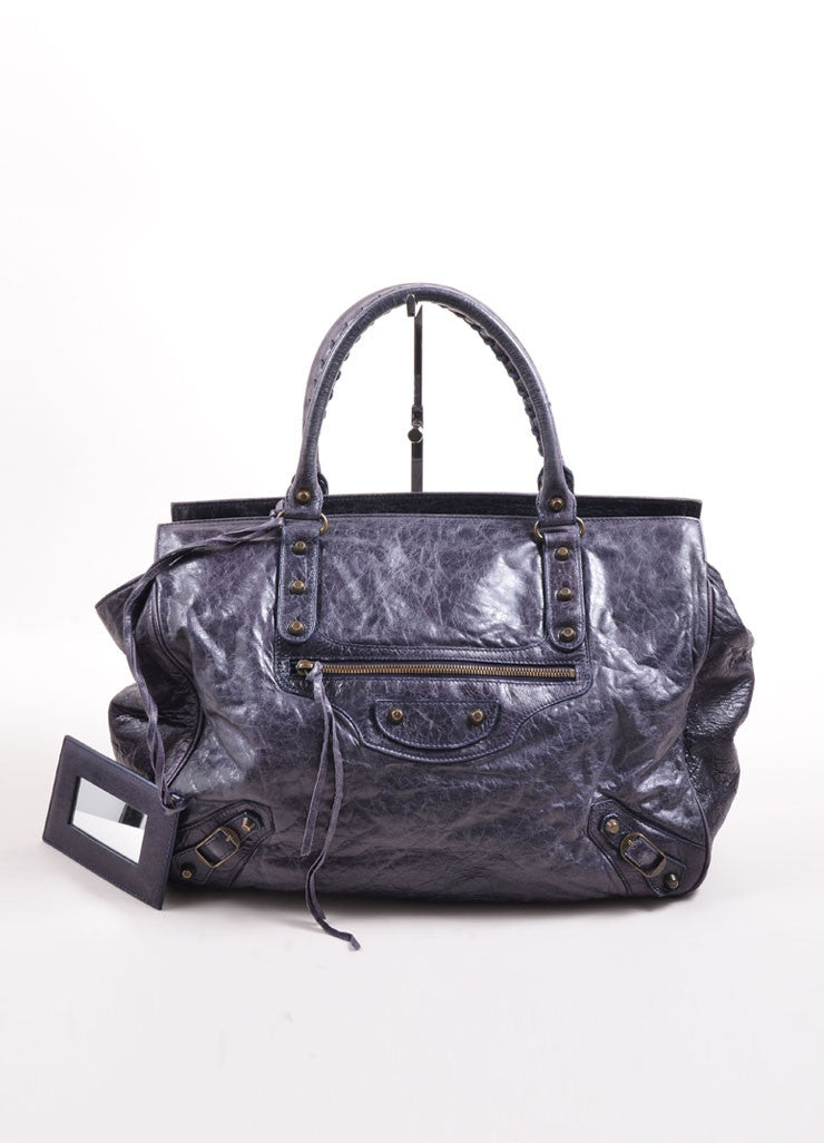 Balenciaga Navy Distressed Leather Studded Oversized Tote Bag Frontview