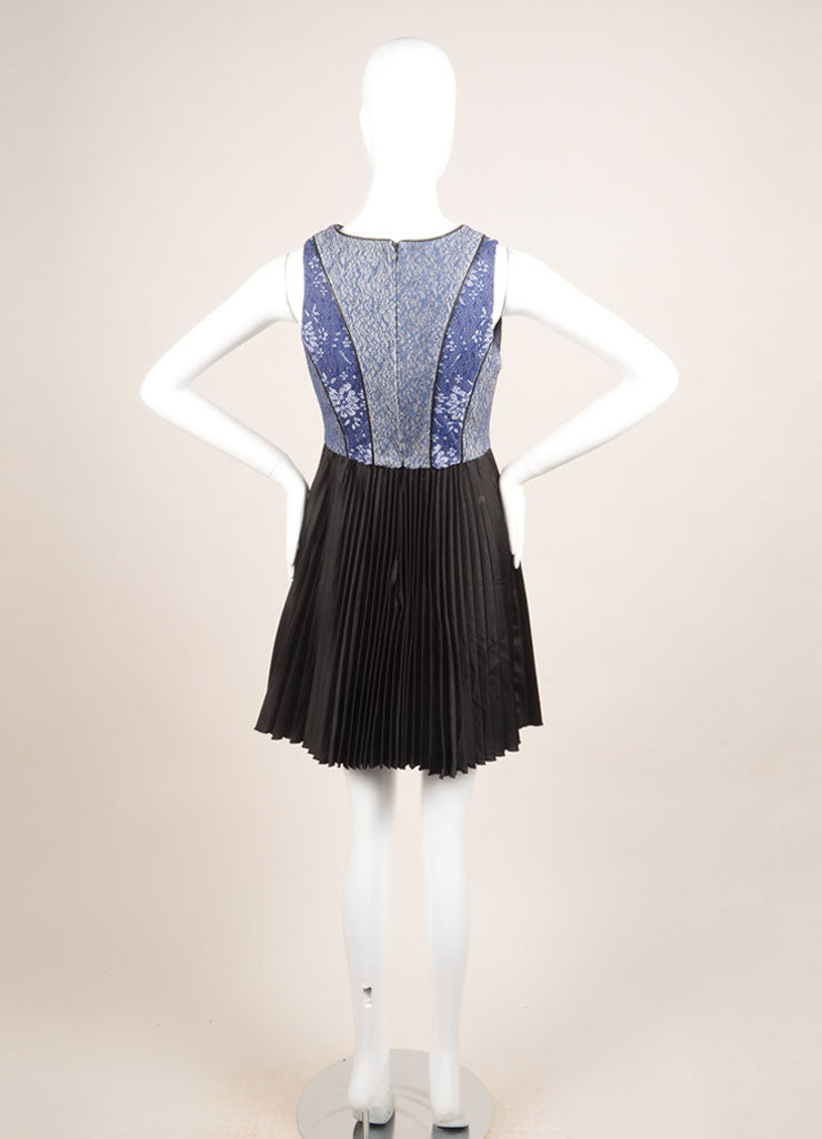 Bensoni Blue and Black Lace Pleated Skirt Sleeveless Dress Backview