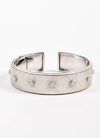 "Buccellati Brushed 18K White Gold and Diamond ""Macri Classica"" Hinge Cuff Bracelet Frontview"