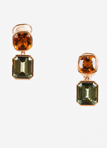 Sidney Garber 18K Rose Gold, Green Amethyst, and Citrine Clip On Earrings Frontview