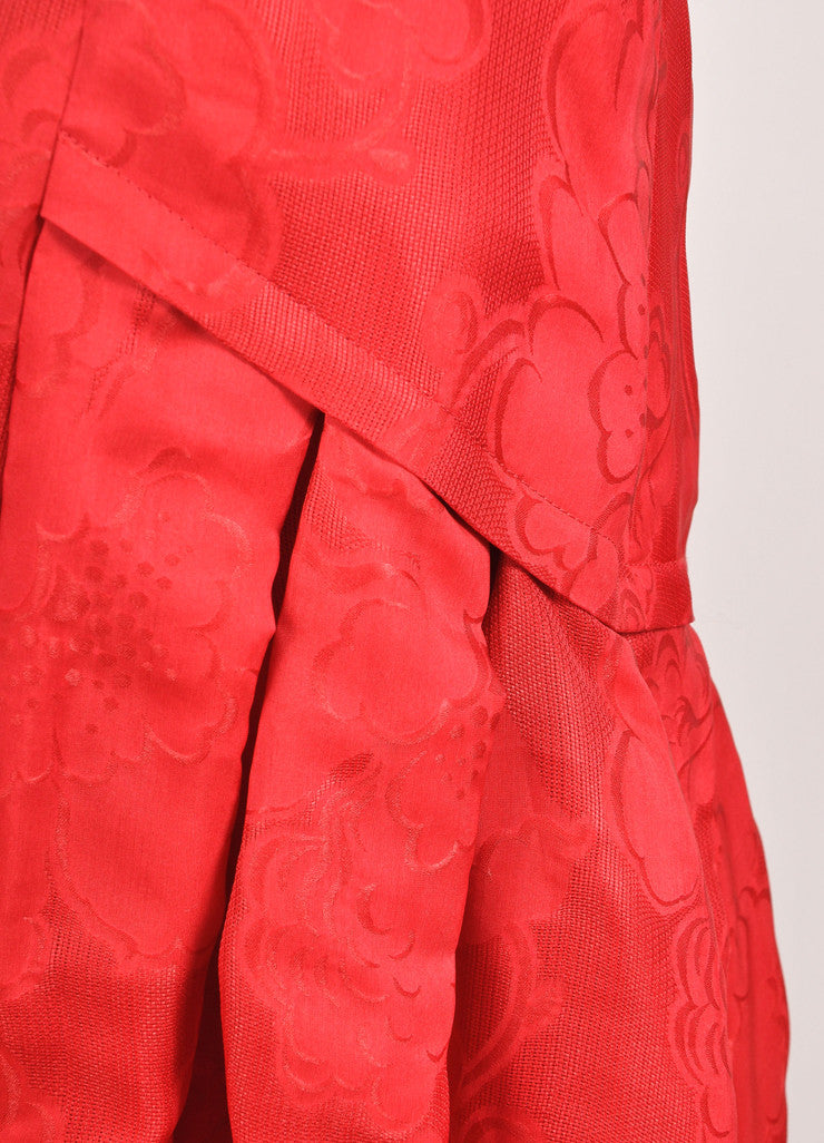 Carolina Herrera New With Tags Red Floral Printed Drop Waist Cocktail Dress Detail