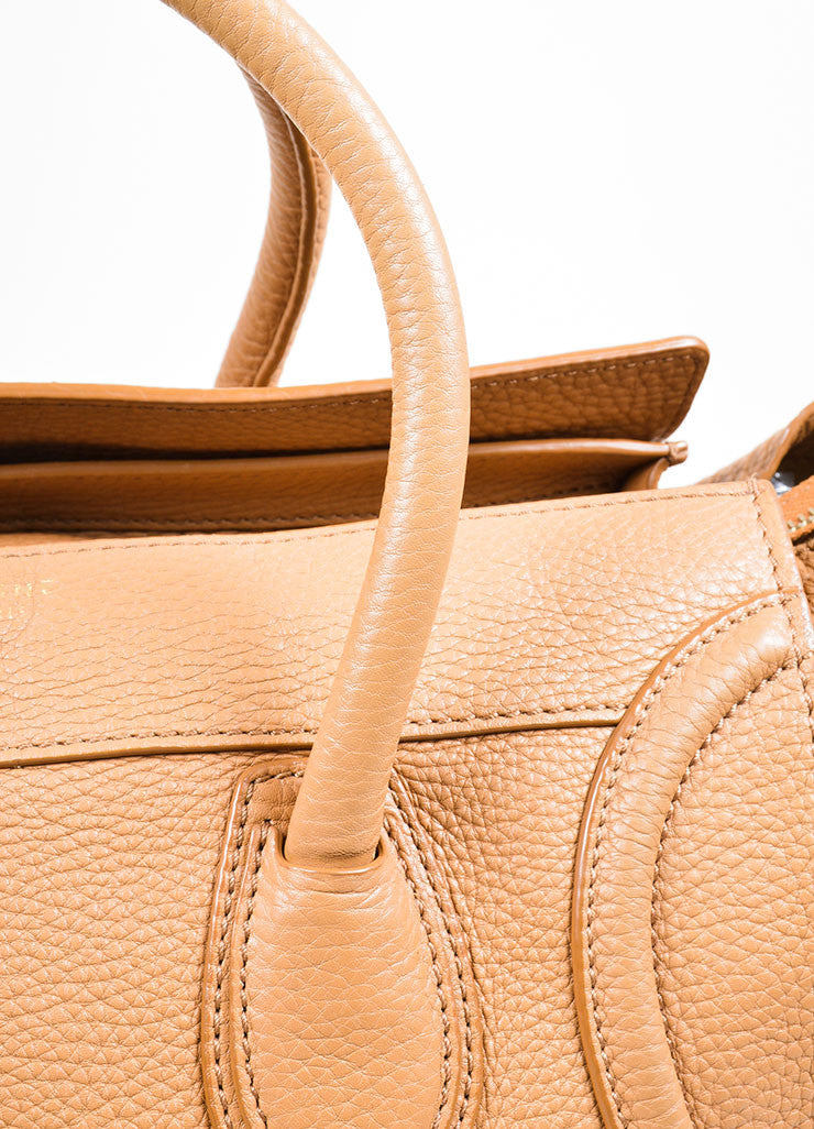 "Taupe Brown Celine Drummed Leather Structured Mini ""Luggage"" Tote Bag Detail 3"