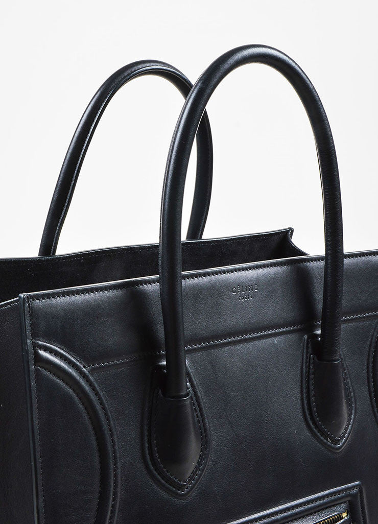 "Black Celine Leather Medium ""Phantom"" Luggate Tote Bag Detail 4"