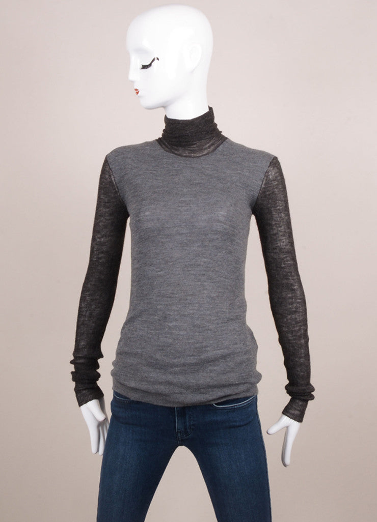 Celine Charcoal Grey Colorblock Wool Blend Turtleneck Sweater Frontview