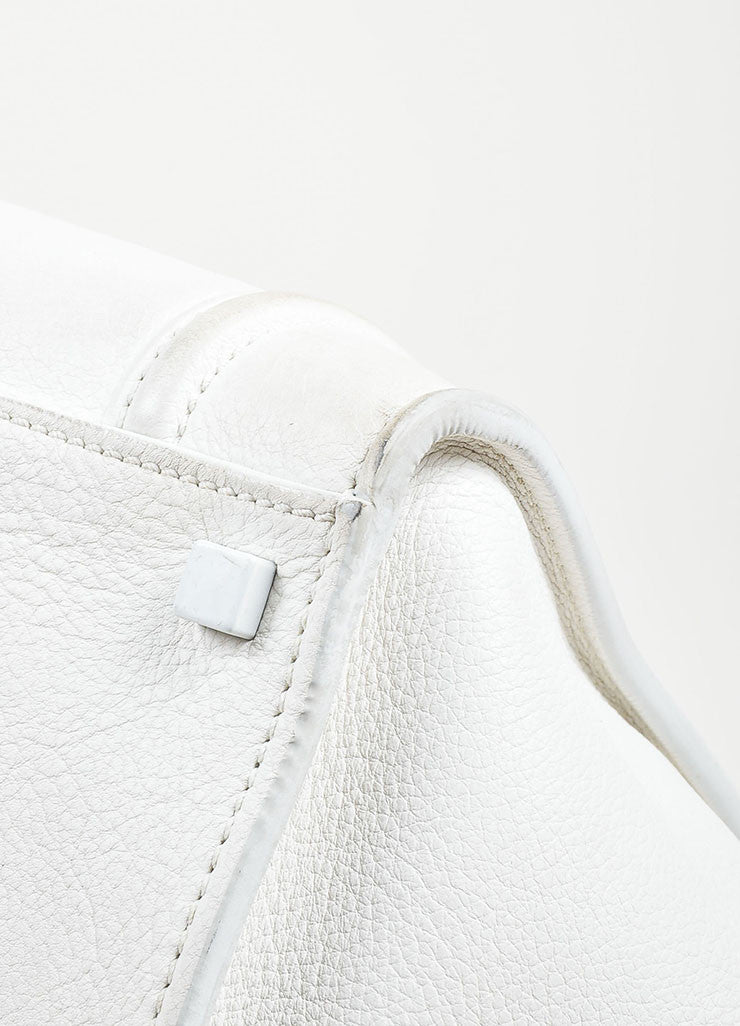 "White Celine Leather Braid Pull ""Small Phantom Luggage"" Tote Detail 3"