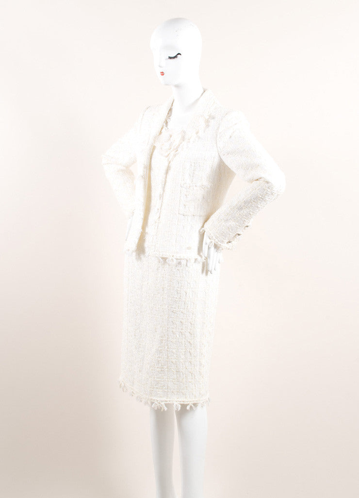 White Cotton and Wool Tweed Camellia Pin Long Sleeve Zip Sheath Dress