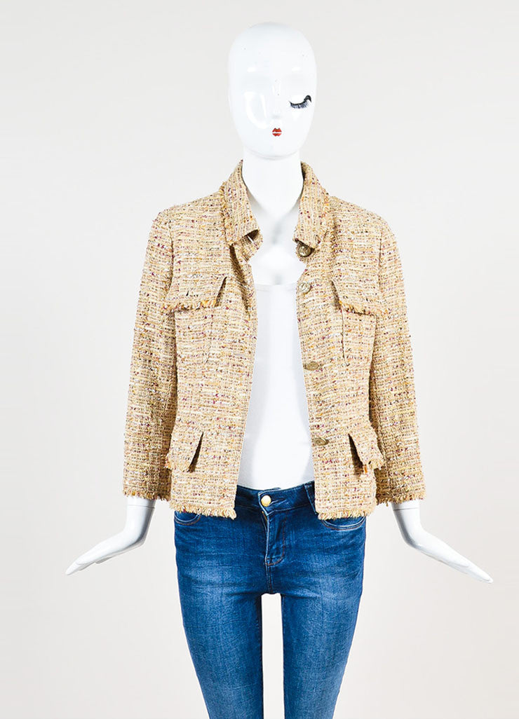 Chanel Tan and Burgundy 'CC' Button Tweed Jacket Frontview