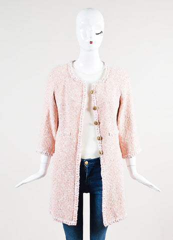 Chanel Peach and White Tweed Faux Pearl 'CC' Button Car Coat  Frontview