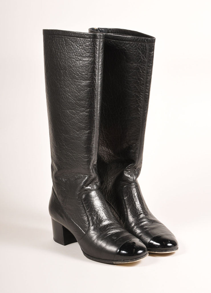 Chanel Black Leather Patent Cap Toe Knee High Boots Frontview