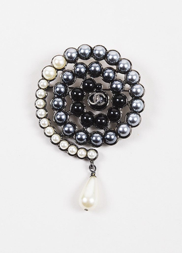 Chanel Grey, Black, and Cream Faux Pearl Embellished 'CC' Logo Swirl Pin Frontview