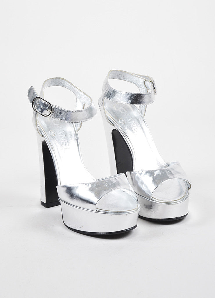 Silver Chanel Metallic Leather Brushstroke Platform Chunky Sandals Front